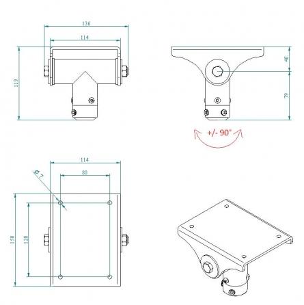 """Flangia per utilizzo su soffitti inclinati per supporti professionali """"Arakno"""" (silver)"""