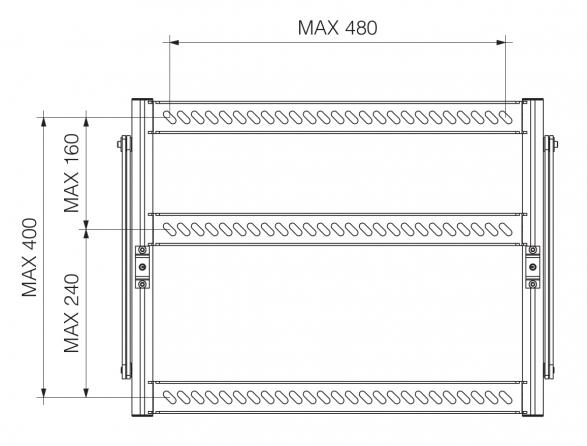Prolift H40 HC - Distanza massima punti di fissaggio del proeittore