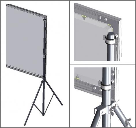 """Coppia di stativi da terra regolabili per schermi """"Flat"""", """"Flat Curved"""" e """"Show"""" fino a 200cm di altezza"""