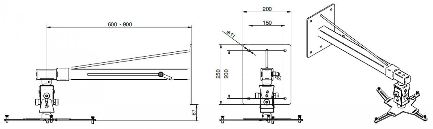 """Supporto professionale da parete per videoproiettore """"Arakno"""" con regolazione micrometrica 60/90cm (bianco)"""