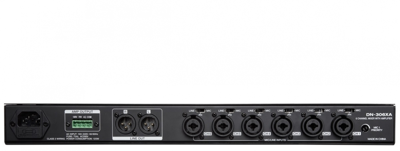 Mixer amplificato 6 canali Denon DN-306XA 1U rack, 120W