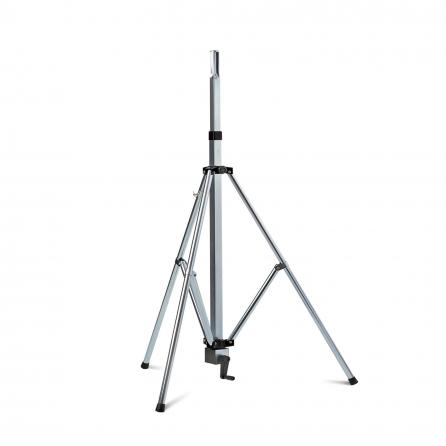 Stativo per cassa in acciaio zincato con manovella e gamba telescopica, altezza regolabile da 129-204cm