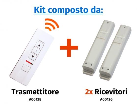 """Comando radio a distanza """"Premium"""" a 2 canali e 3 pulsanti con selettore di canale a led (espandibile fino a 5 canali)"""