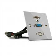 Presa a muro VGA, HDMI, USB e Audio in metallo