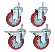 Kit di 4 ruote (di cui 2 con freno) per coppia di montanti