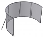 """Schermo proiezione """"Round"""" con cornice circolare, con telo """"Macro-Sound"""" bianco ottico forellato, attraversabile da suono e aria con arco da 400cm e altezza utile 380cm (altezza gamba 10cm)"""