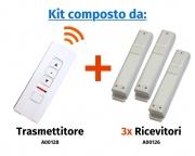 """Comando radio a distanza """"Premium"""" a 3 canali e 3 pulsanti con selettore di canale a led (espandibile fino a 5 canali)"""