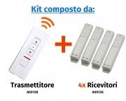 """Comando radio a distanza """"Premium"""" a 4 canali e 3 pulsanti con selettore di canale a led (espandibile fino a 5 canali)"""