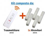 """Comando radio a distanza """"Premium"""" a 5 canali e 3 pulsanti con selettore di canale a led"""