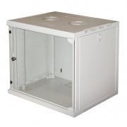 """Armadio rack 19"""" 9 unità da muro per reti 485x540x450mm (AxLxP) colore grigio porta frontale in vetro temperato"""