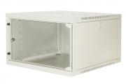 """Armadio rack 19"""" 6 unità da muro 540x350x600mm (LxAxP), grigio con porta frontale in vetro"""
