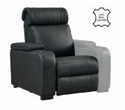 """Seduta per poltrona Home Cinema in vera pelle motorizzata Lumene """"Hollywood Luxury III"""", con bracciolo destro USB (nero)"""