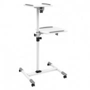 Tavolino 2 ripiani con rotelle e struttura regolabile