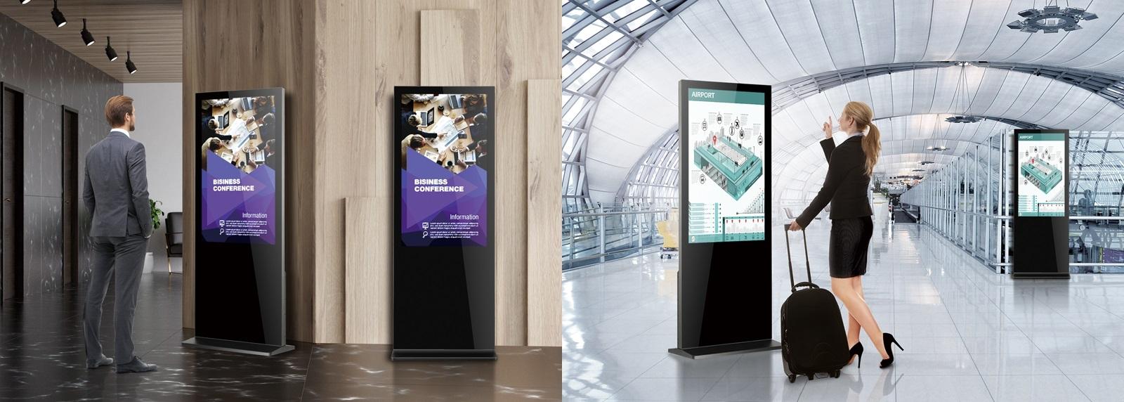 LFD display verticale a totem in doppia configurazione